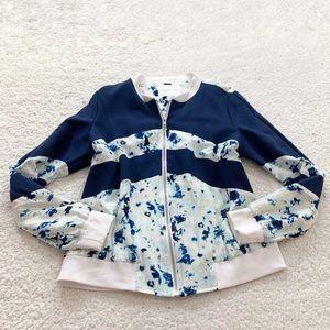 Amour vert floral silk full zip bomber jacket